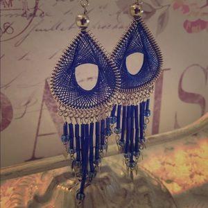 Silver & Blue Chandelier Dangle Earrings